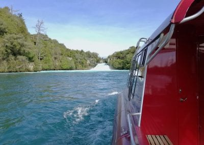Huka Falls River Cruise approaching Huka Falls on the Waikato River.